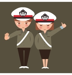 kids boy and girl wearing police cop uniform vector image vector image