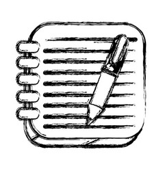 monochrome sketch of square button with spiral vector image vector image