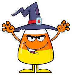 scaring halloween candy corn with a witch hat vector image vector image