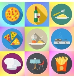 Set restaurant kitchen food icons vector