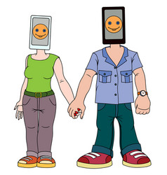 a pair of young people with gadgets man and woman vector image