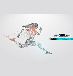 Abstract silhouette a running athlete woman vector