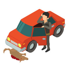 accident scene icon isometric 3d style vector image