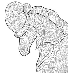 Adult coloring bookpage a cute horse wearing a vector