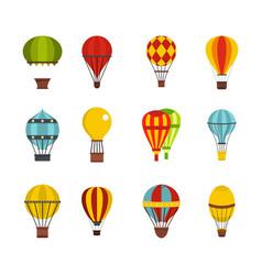 airballon icon set flat style vector image