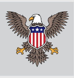American eagle with stars and stripes badge vector