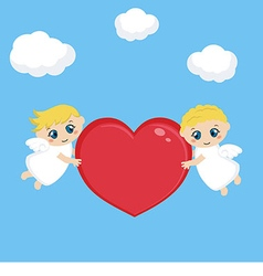Angels with red heart vector