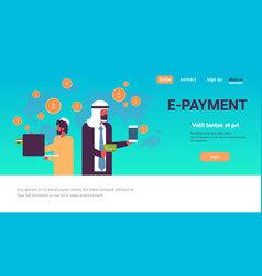 arabic men using global payment application money vector image