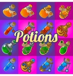 Big set of different magic bottles with potion vector image
