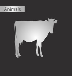 black and white style icon of cow vector image