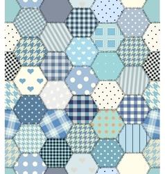 Blue patchwork hexagon vector
