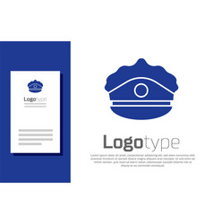 Blue police cap with cockade icon isolated on vector