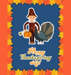 boy turkey pumpkin happy thanksgiving day card vector image