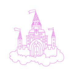 Cartoon lined pink princess vector