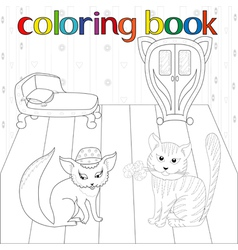 Cat and pussy in room for coloring book vector