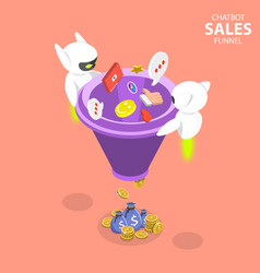 Chatbot sales funnel flat isometric concept vector