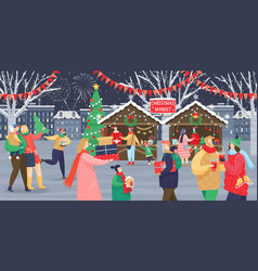 christmas market celebration winter holidays vector image