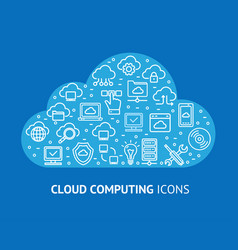 cloud computing concept banner card vector image