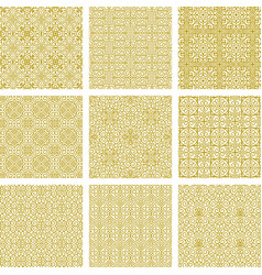 Collection of seamless oriental gold ornaments vector