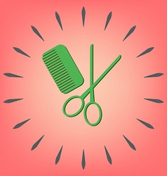 comb scissors barbershop symbol of hair and beauty vector image