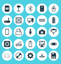 Computer icons set collection of vga cord vector