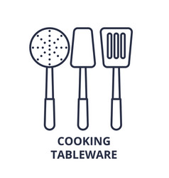 cooking tableware line icon concept cooking vector image