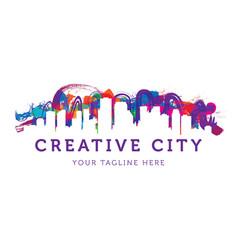 creative urban city logo templateweb vector image