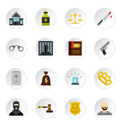 Crime and punishment icons set flat style vector