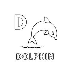 Cute cartoon animals alphabet dolphin vector