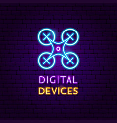 digital devices neon label vector image