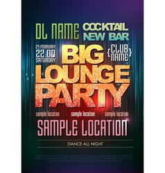 Disco poster big lounge party vector