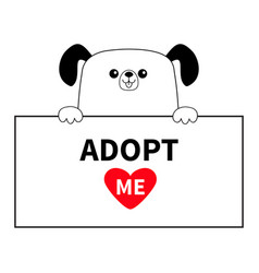 dog head face hanging on paper board adopt me vector image