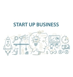Doodle style design concept of start up business vector