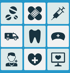 drug icons set collection of claw bandage cap vector image