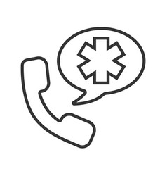 emergency phone call to hospital linear icon vector image