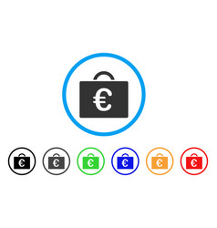 Euro bookkeeping case rounded icon vector