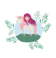 Fairy with unicorn in the camp vector