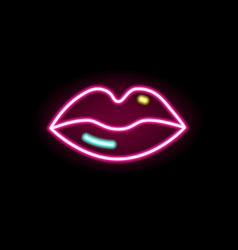 fashion red lips neon line illumination vector image