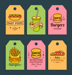 fast food tags burgers hot dogs fry vector image