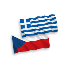 Flags greece and czech republic on a white vector
