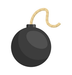 Flat black round bomb with rope wick on white vector