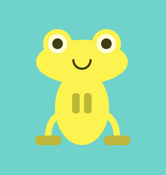 Flat icon on background cute frog cartoon vector