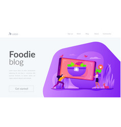 Food blogging landing page template vector