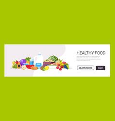 Fresh fruits vegetables plant based milk raw vector