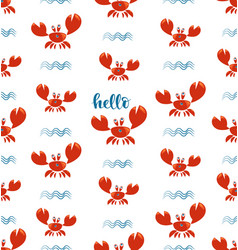 Funny red crabs and waves seamless pattern vector