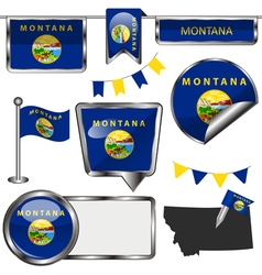 Glossy icons with Montanan flag vector image