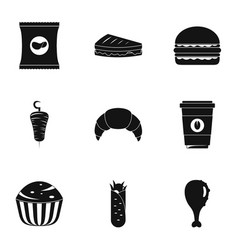 Gormandize icons set simple style vector