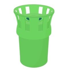 Green bin icon cartoon style vector