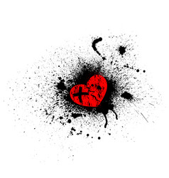 grunge red heart vector image