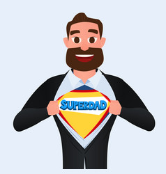 happy fathers day man open shirt to show super dad vector image